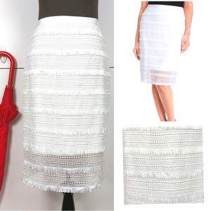 White House Black Market Lace Fringe Skirt Sz 6